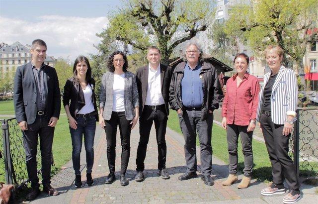 """28A.- Otegi y Rovira """"construyen complicidad"""" en Ginebra para """"una unidad de acción"""" frente al """"autoritarismo"""""""
