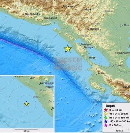 Un sismo de magnitud 5,4 azota las costas de Nicaragua sin dejar heridos