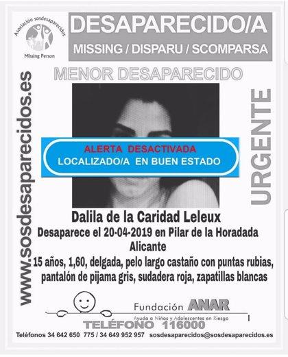 Localizada en buen estado la joven de 15 años que desapareció este sábado en Pilar de la Horadada (Alicante)