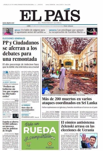 Las portadas de los periódicos del lunes 22 de abril de 2019
