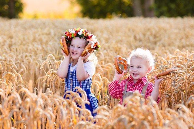 Niños, pan, trigo, campo, celiaco