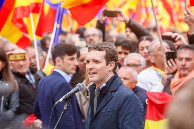 Concentración en la Plaza de Colón (Madrid) bajo el lema 'Por una España unida'