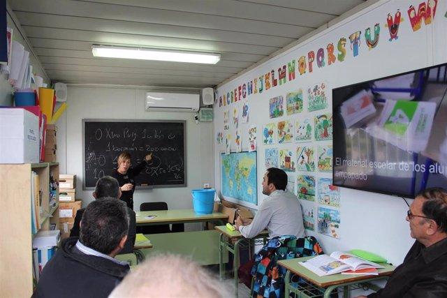 """28A.- Cs Recrea Un Barracón En La Playa Del Gurugú Y Asegura Que """"La Educación Prefabricada Tiene Fecha De Caducidad"""""""