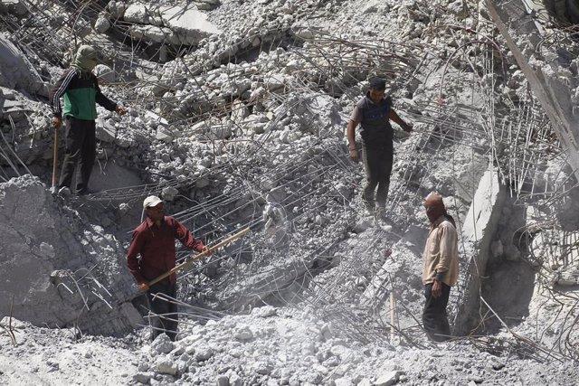 Escombros de un edificio en Raqqa