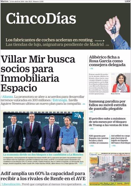 Las portadas de los periódicos económicos de hoy, martes 23 de abril