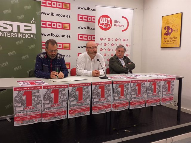 """Los sindicatos llaman a manifestarse en un 1 de mayo de """"máxima exigencia"""" bajo el lema 'Primero las personas'"""