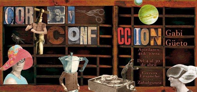 El artista pamplonés Gabi Güeto expone en Civivox Ensanche 'Corte y confección', una muestra de collages