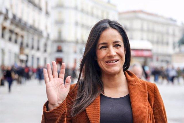 Intervención de la candidata de Ciudadanos a la Alcaldía de Madrid, Begoña Villacís, en la Puerta del Sol (Madrid).