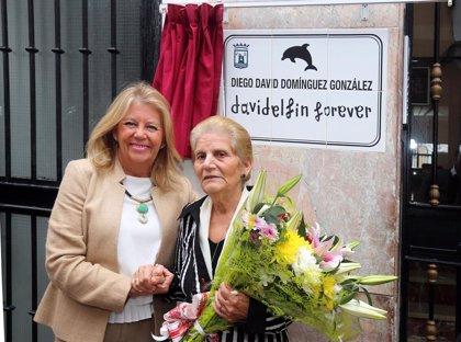 Marbella recuerda a David Delfín con el descubrimiento de una placa con su nombre en el barrio en el que creció