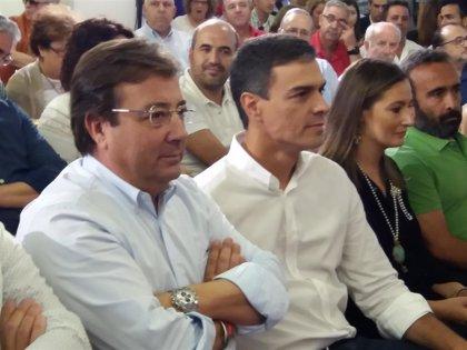 Pedro Sánchez y Fernández Vara participan este miércoles en un acto de campaña en Badajoz