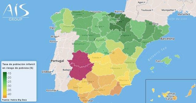 Extremadura, la comunidad autónoma con más riesgo de pobreza infantil de España y Navarra la que menos, según un estudio