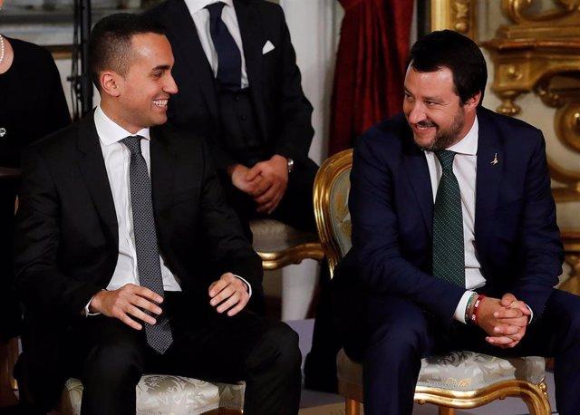 Luigi Di Maio y Matteo Salvini en la toma de posesión en el Quirinale