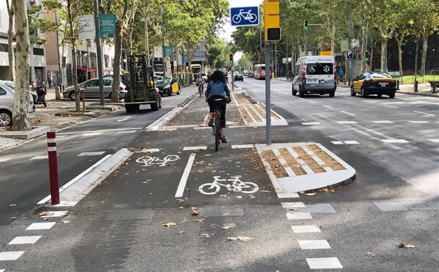 Carril bici en Barcelona