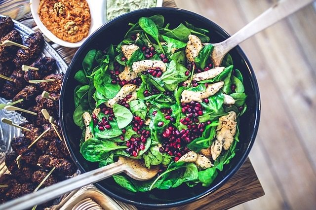 Espinacas, comida, ensalada