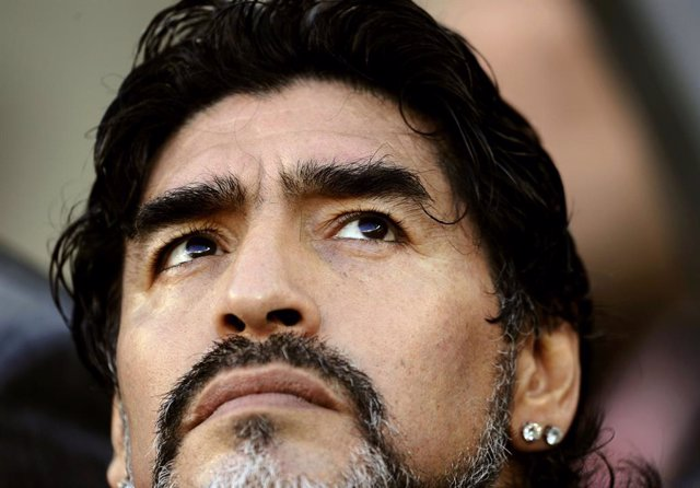 Argentina's coach Diego Maradona looks on before the 2010 World Cup quarter-fina