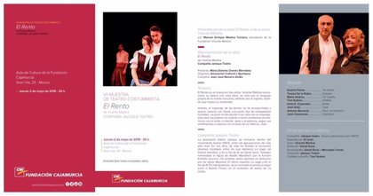 La obra 'El Rento', de Vicente Medina, será puesta en escena en la VII Muestra de Teatro Costumbrista
