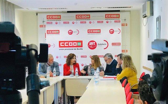 """Sevilla.-28A.-PSOE saluda la """"sintonía"""" con CCOO y UGT y pide movilizarse el domingo para """"seguir conquistando derechos"""""""