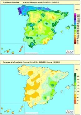 La falta de lluvias acumuladas desde octubre se reduce del 16 al 10% y el Levante pasa de déficit a un marcado superavit