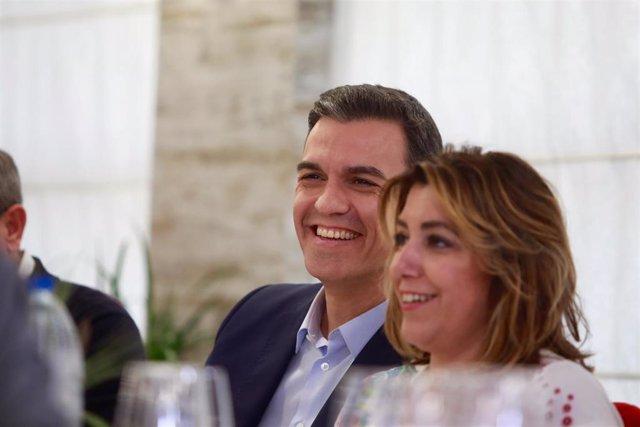 Pedro Sánchez participan en una comida-mitin en Granada