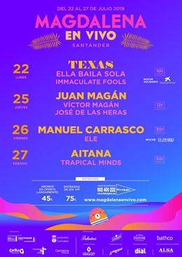 Manuel Carrasco, Texas, Aitana y Juan Magán, cabezas de cartel de la primera edición del festival Magdalena en Vivo