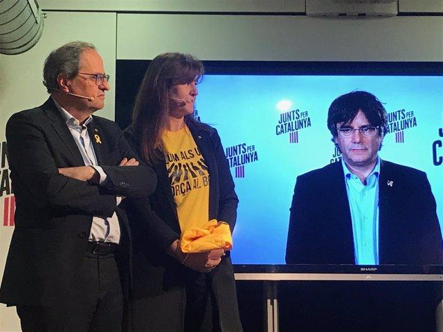 """28A.- Puigdemont Crida Als Indecisos A Votar Jxcat Davant Un Estat """"Capa"""" D'Apartar-li De les Europees"""