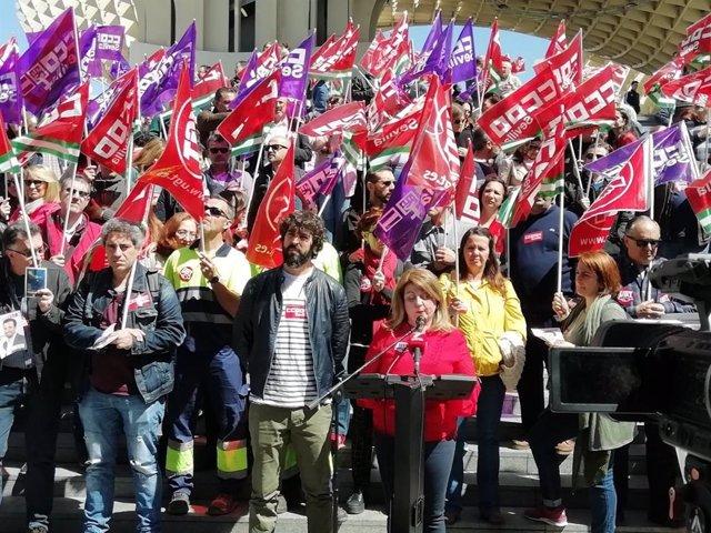 Concentraciones sindicales y lecturas de manifiesto en las ocho capitales por el Día de la Seguridad y Salud laboral