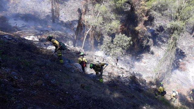 Málaga.- Sucesos.- Extinguido el incendio declarado este viernes en una zona agrícola de Yunquera