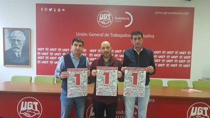 """CCOO, UGT y PCA reivindican en Huelva """"más derechos, igualdad y cohesión social"""" por el 1 de mayo"""