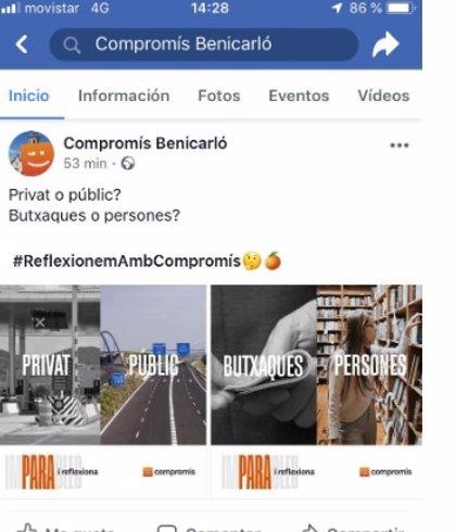 El PP denuncia a Compromís por difundir en redes sociales mensajes electoralistas el día de reflexión