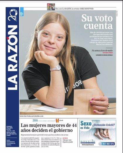 Las portadas de los periódicos del domingo 28 de abril de 2019