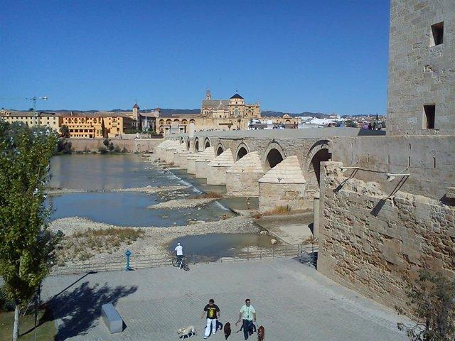 Imagen del Puente Romano, con la Puerta del Puente y la Mezquita al fondo