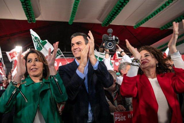 """VÍDEO: 28A.- Montero afirma que """"el sur dará la victoria"""" a Sánchez, frente a los """"tristes y desesperados"""" de la derecha"""