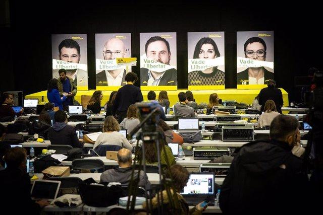 Elecciones generales 28A 2019. Seguimiento de resultados en la sede de ERC