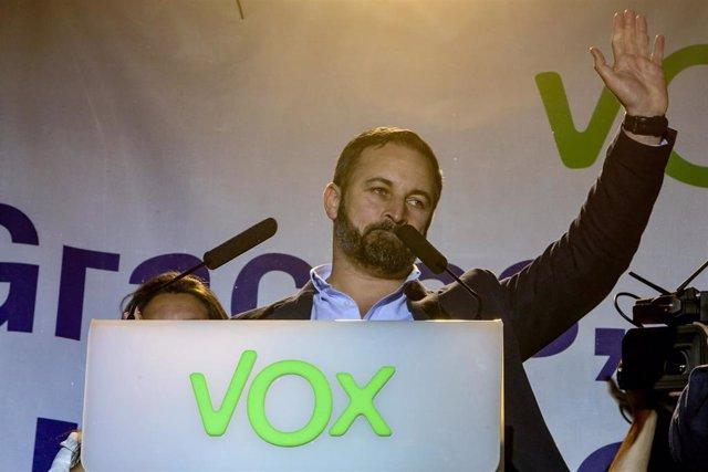 Elecciones generales 28A 2019. VOX celebra sus resultados en la Plaza Plaza Margaret Thatcher de Madrid