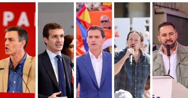 28A.- Madrid y València, escenarios del cierre de campaña este viernes de los principales partidos
