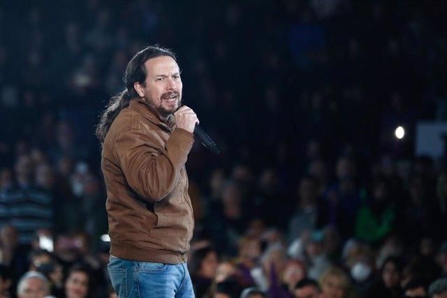 Acto de cierre de campaña de Unidas Podemos en el Auditorio del Parque Lineal del Manzanares, Madrid