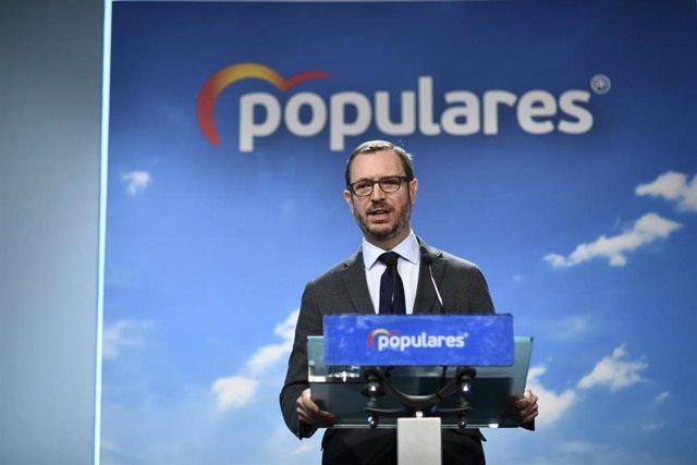 """Maroto dice que Sánchez """"esquiva"""" el debate con Casado porque """"le van a pillar in fraganti"""" con su programa económico"""