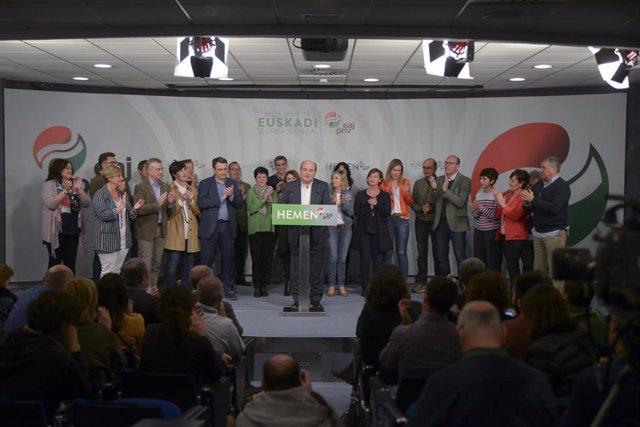 Elecciones generales 28A 2019. Seguimiento de resultados en la sede del PNV
