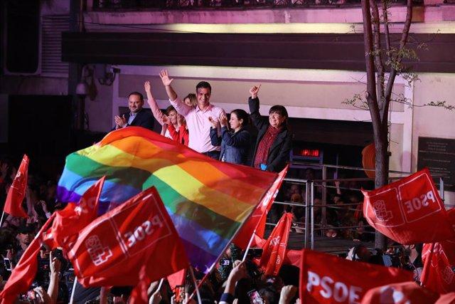 Elecciones generales 28A 2019. Seguimiento de resultados en la sede del PSOE