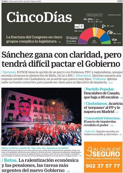 Las portadas de los periódicos económicos de hoy, lunes 29 de abril