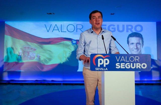 El presidente del PP-A y de la Junta, Juanma Moreno, participa en el acto de apertura de campaña del PP-A.