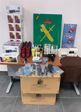 Sucesos.- Guardia Civil recupera cerca de un centenar de productos de peluquería sustraídos en un almacén de Lorca