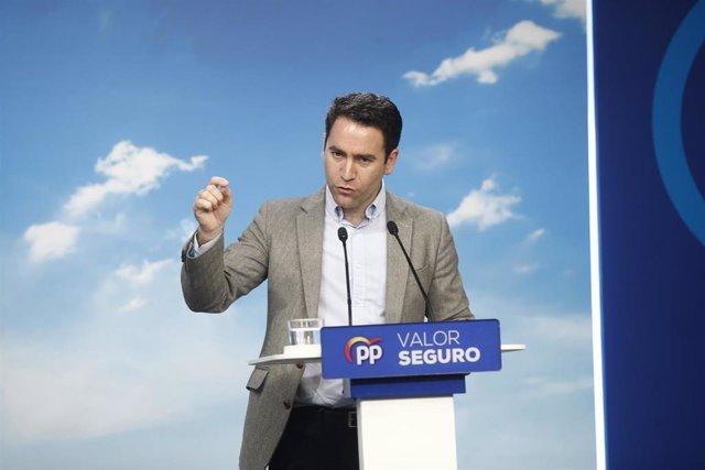 El secretario general del PP, Teodoro García Egea, ofrece una rueda de prensa so