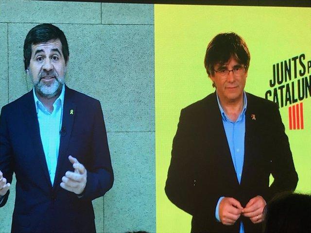 """AMP.- 28A.- Puigdemont i Snchez apellen a perseverar i mantenir el """"esperit de el 1-O"""" al Congrés"""