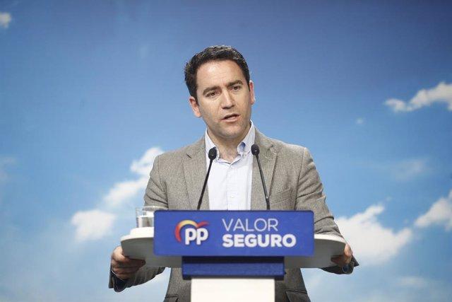 El secretario general del PP, Teodoro García Egea, ofrece una rueda de prensa sobre resultados electorales