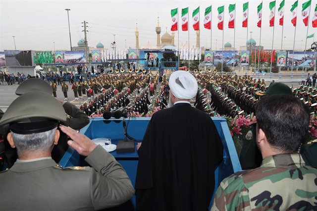 Iranian president Rouhani attend annual military parade in Tehran