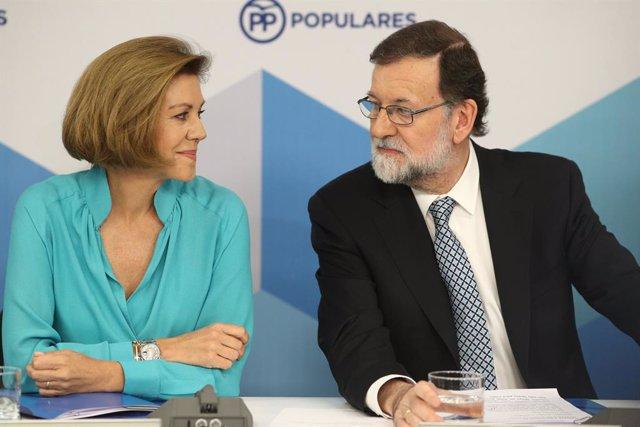 Rajoy i Cospedal durant la reunió del Comit Executiu Nacional del PP