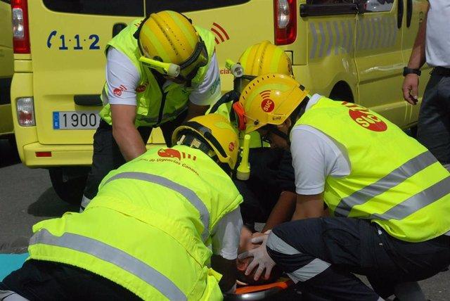 Sucesos.- Un motorista resulta herido al chocar contra un coche en la autopista del sur (Tenerife)