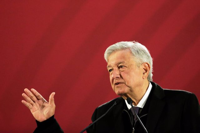 Mexico's President Andres Manuel Lopez Obrador gestures during a news conference