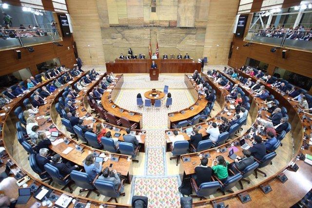 Imagen del pleno de la Asamblea de Madrid durante la investidura de Garrido